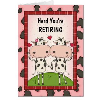 Enhorabuena del retiro - vacas tarjeta de felicitación
