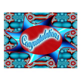 enhorabuena del rojo de la turquesa postal