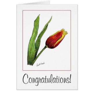 Enhorabuena del tulipán tarjeta pequeña