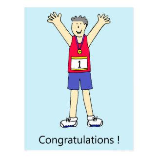 Enhorabuena del varón del corredor de maratón postal