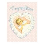 Enhorabuena del vintage para el nuevo bebé postales