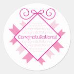 ¡Enhorabuena! empavesado cuadrado con las palabras Etiqueta Redonda