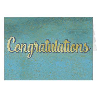 Enhorabuena en blanco azul clara y oro tarjeta de felicitación