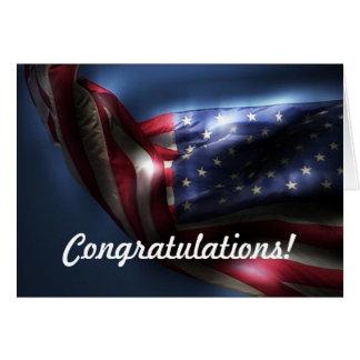 ¡Enhorabuena en carta verde! - Bandera americana Tarjeta De Felicitación