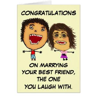 Enhorabuena en casar a su mejor amigo tarjeta de felicitación