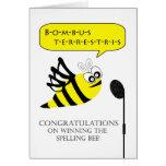 Enhorabuena en concurso de ortografía que gana tarjetón