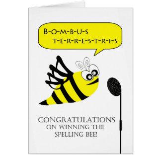 Enhorabuena en concurso de ortografía que gana tarjeta de felicitación
