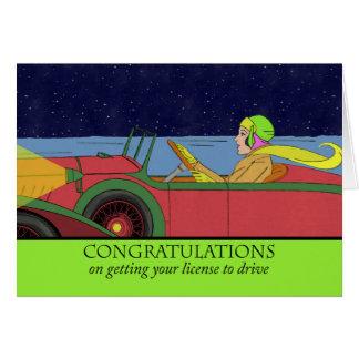 Enhorabuena en conseguir su licencia de conducir tarjeta de felicitación