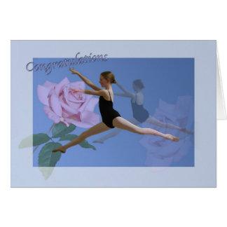 Enhorabuena en decreto de la danza del ballet tarjeta de felicitación