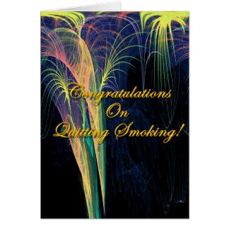 Enhorabuena en el abandono de fumar tarjeta de felicitación
