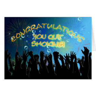 Enhorabuena en el donante para arriba de fumar tarjeta de felicitación