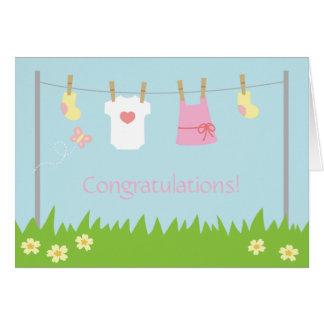 Enhorabuena en el nacimiento de la niña tarjeta