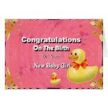 Enhorabuena en el nacimiento de su nueva niña felicitación