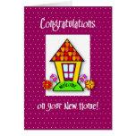 Enhorabuena en el nuevo hogar, púrpura, casa tarjeton