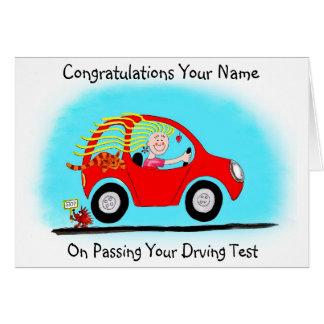 Enhorabuena en el paso de la prueba de conducción tarjeta de felicitación