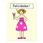 Enhorabuena en español, señora en una torta postales