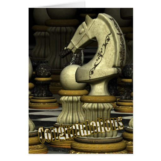 Enhorabuena en ganar en tarjeta del ajedrez