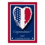 Enhorabuena en la certificación de EMT, patriótica Tarjeta De Felicitación