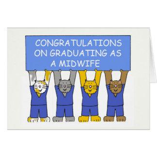 Enhorabuena en la graduación como partera tarjeta de felicitación