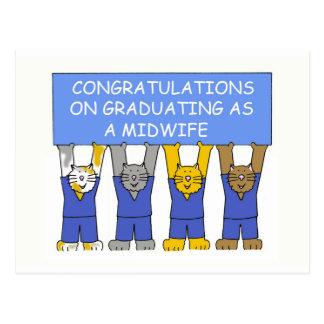 Enhorabuena en la graduación como partera tarjetas postales
