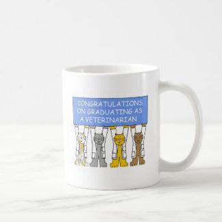 Enhorabuena en la graduación como veterinario taza de café