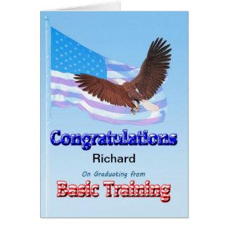 Enhorabuena en la graduación de formación básica tarjeta de felicitación