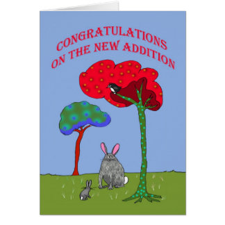 Enhorabuena en la nueva adición, conejos tarjeta de felicitación