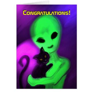 Enhorabuena en nueva tarjeta del mascota