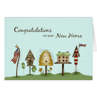 Enhorabuena en nuevos Birdhouses y banderas Tarjeta De Felicitación