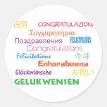 Enhorabuena en pegatina de muchas idiomas