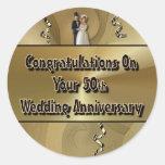 Enhorabuena en su 50.o aniversario de boda etiquetas redondas