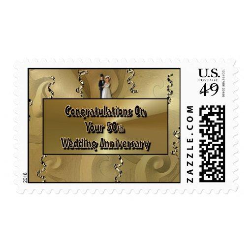 Enhorabuena en su 50.o aniversario de boda sellos postales