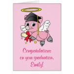 Enhorabuena en su ángel del cerdo de la graduación tarjetón