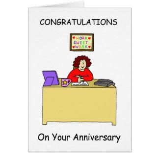 Enhorabuena en su aniversario del trabajo, tarjetón