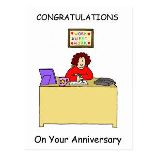 Enhorabuena en su aniversario del trabajo, tarjetas postales