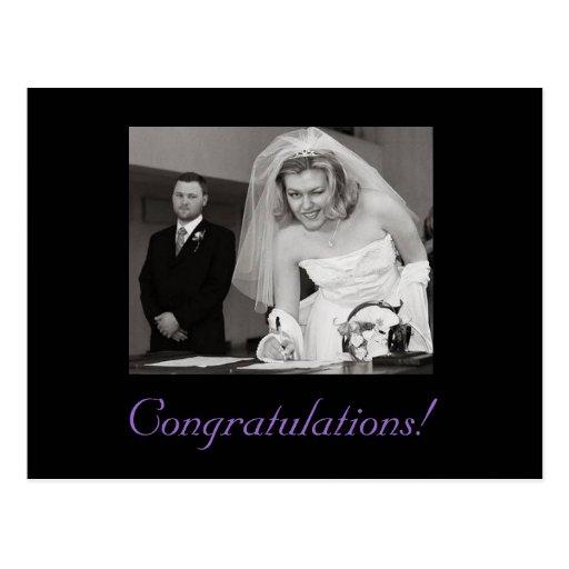 ¡Enhorabuena en su boda! Tinta del chiste Postales