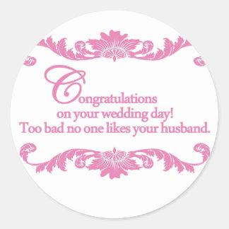 ¡Enhorabuena en su día de boda! Pegatina Redonda