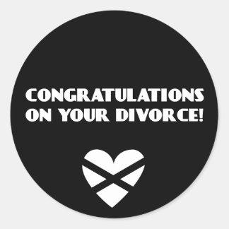Enhorabuena en su divorcio pegatina redonda