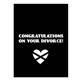 Enhorabuena en su divorcio postal