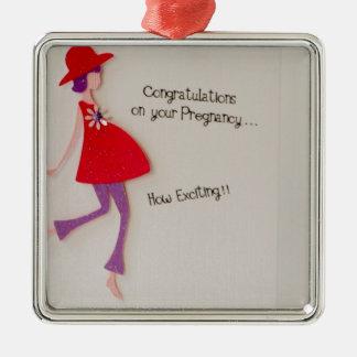 ¡enhorabuena en su embarazo! adorno navideño cuadrado de metal