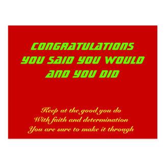 Enhorabuena en su éxito tarjetas postales