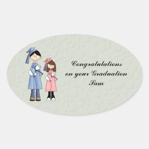 Enhorabuena en su graduación calcomania de óval