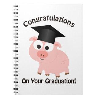 ¡Enhorabuena en su graduación! Cerdo Libretas Espirales