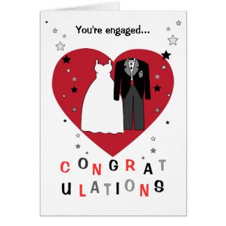 Enhorabuena en su novia y novio del compromiso tarjeta de felicitación