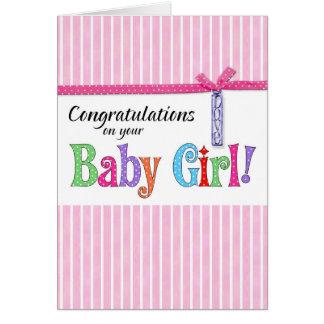 enhorabuena en su nueva niña tarjeta de felicitación