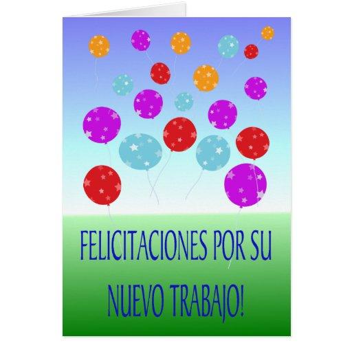 Enhorabuena en su nueva tarjeta del español del tr