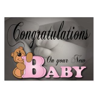 Enhorabuena en su nuevo bebé tarjetas de visita grandes