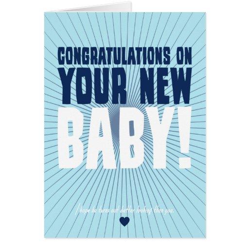 Enhorabuena en su nuevo bebé tarjeta pequeña