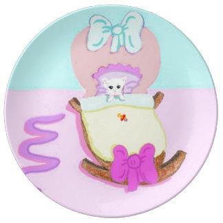 Enhorabuena en su nuevo gatito platos de cerámica