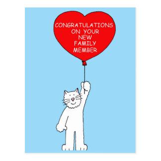 Enhorabuena en su nuevo gato del mascota tarjetas postales